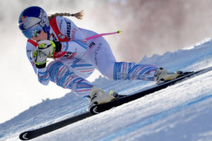Lindsey Vonn in actie in Cortina d'Ampezzo