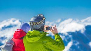Ski helm met uitzicht.